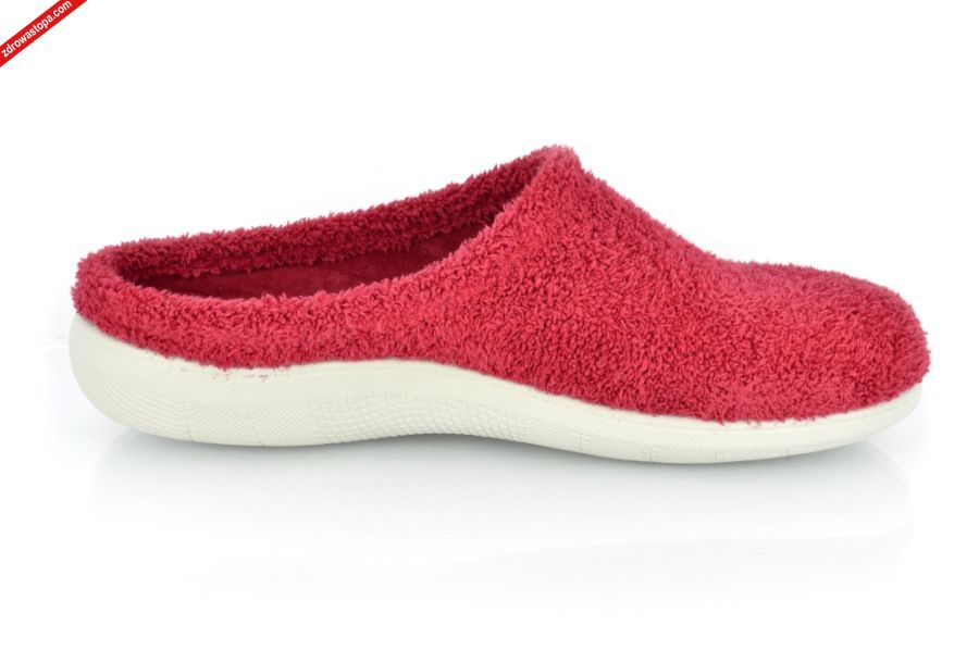 489f1459 Typ: kapcie damskie domowe. Kolor: czerwony. Materiał wierzchni/Wnętrze  buta: wykonane z naturalnego materiału tekstylnego. Tęgość: H +. Rozmiar:  tylko 36